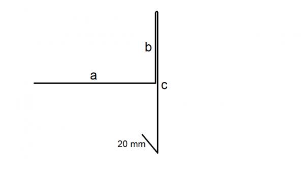 Ortgangblech b = 30 mm, Titanzink, 250 mm Zuschnitt ohne Falz
