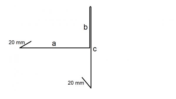Ortgangblech b = 30 mm, Titanzink, 280 mm Zuschnitt mit Falz